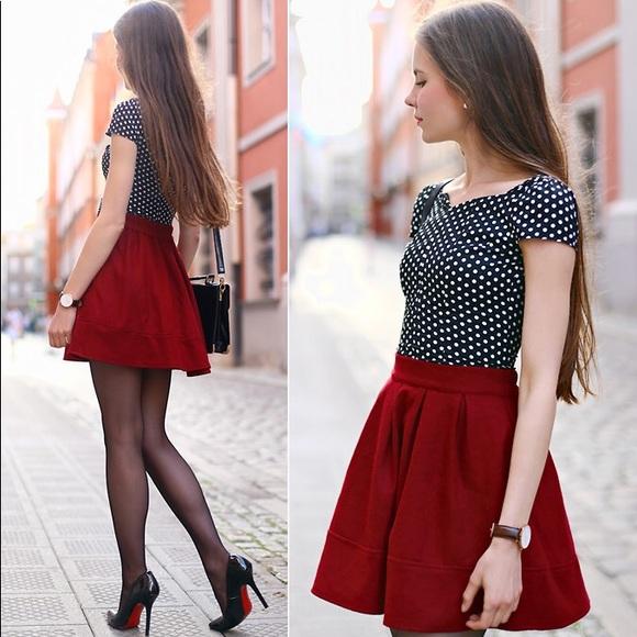 841f9cd58 Dresses & Skirts - Zara Pleated Brick Red Skater Skirt!